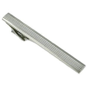 textured silver tie bar