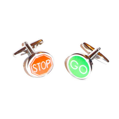 Stop Go Road Sign Cufflinks