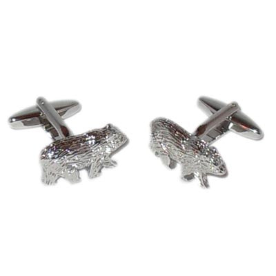 Rhodium Plated Bears Cufflinks