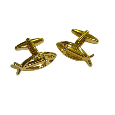 Gold Plated Christian Icthus with Crystal Detail Cufflinks