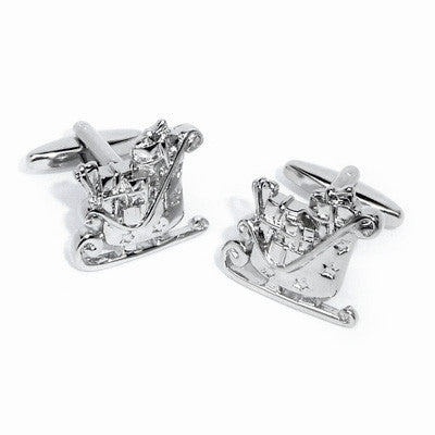 Santas Sleigh Full of Toys Christmas Cufflinks
