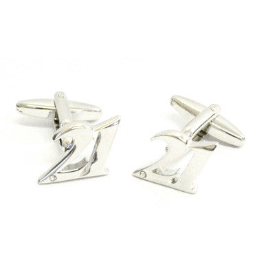 Rhodium Plated 21 Cufflinks with Crystal Decoration
