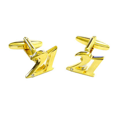 Gold Plated 21 Cufflinks with Crystal Decoration