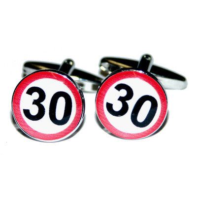 30mph Road Sign  Birthday Cufflinks