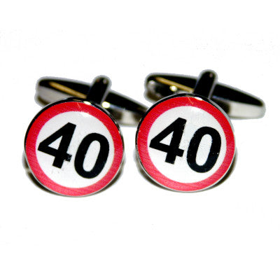 40mph Road Sign  Birthday Cufflinks