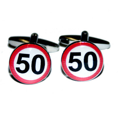 50mph Road Sign Birthday Cufflinks