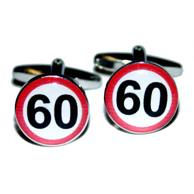 60mph Road Sign  Birthday Cufflinks