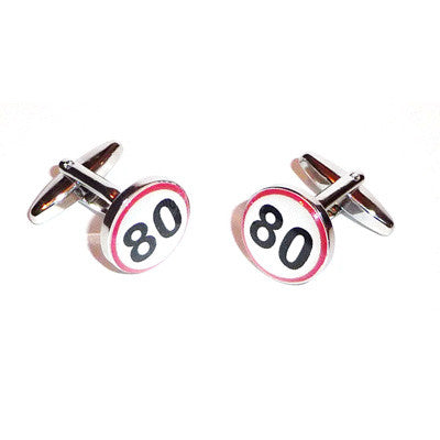 80 Road Sign  Birthday Cufflinks