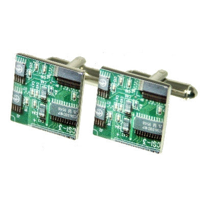 Green Circuitboard Look Cufflinks