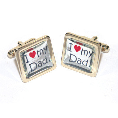 2 Tone Golden & Silver I Love my Dad Cufflinks