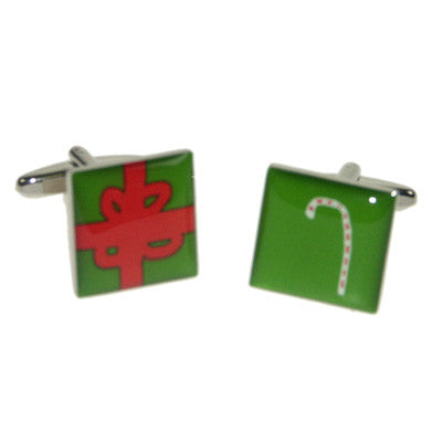 Candy Cane & Gift Christmas Cufflinks