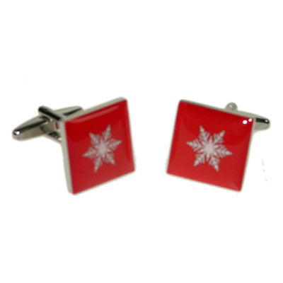 Red Snowflake Christmas Cufflinks