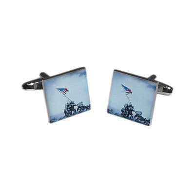 American Soldiers Raising the USA Flag Nostalgic Cufflinks