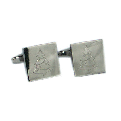 Festive Engraved Christmas Tree Cufflinks