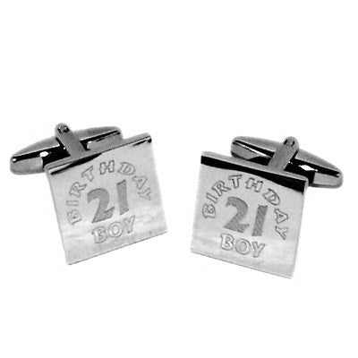 21st Birthday Boy Engraved Cufflinks