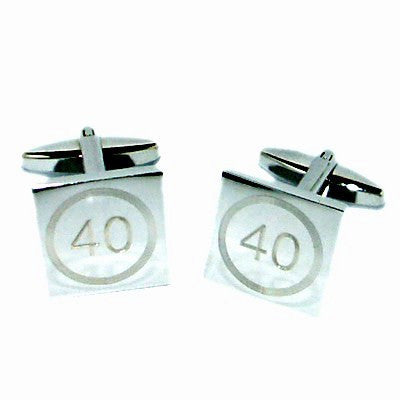 40 Birthday Speed Limit Style Engraved Cufflinks