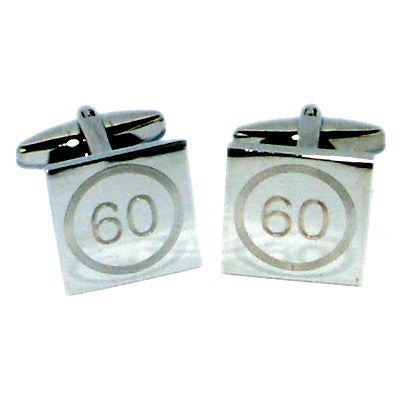 60 Birthday Speed Limit Style Engraved Cufflinks