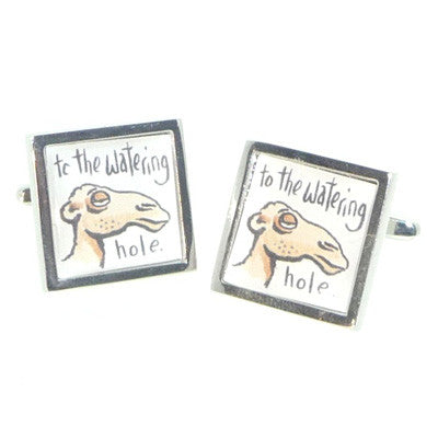 To the Watering Hole Comedy Camel Cufflinks