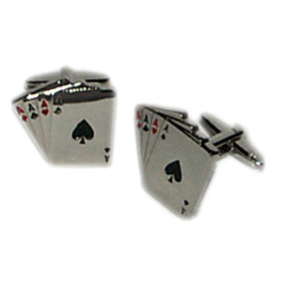 4 Aces Shiny Finish Cufflinks