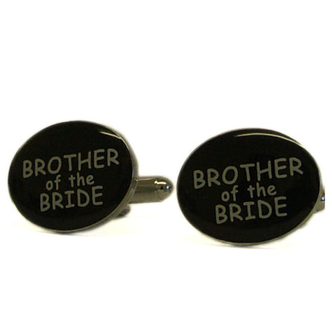Black Oval Brother of the Bride Cufflinks