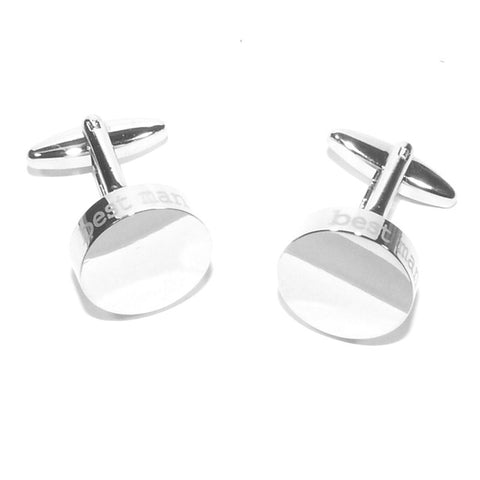 Best Man Laser Etched Edge Wedding Cufflinks