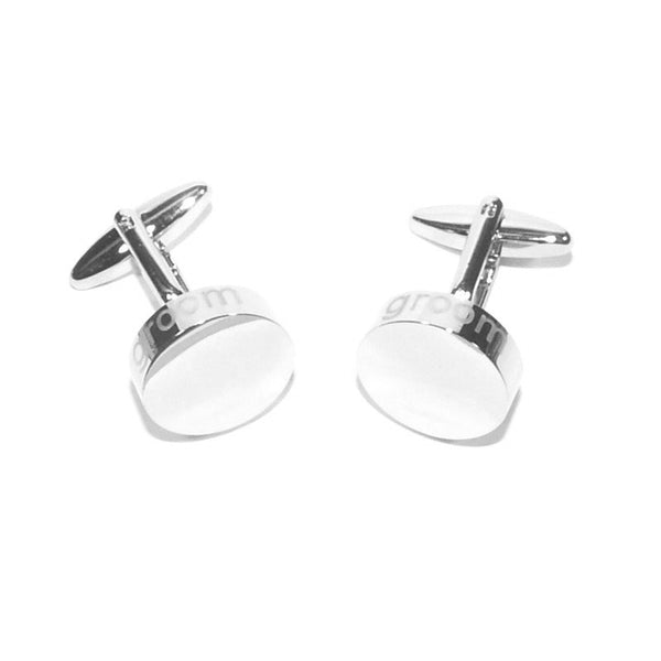 Groom Laser Etched Edge Wedding Cufflinks
