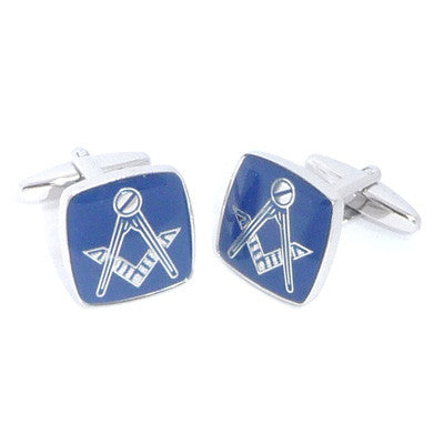 Blue Rhodium Plated Masonic Cufflinks No G
