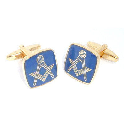 Blue & Gold Plated Masonic cufflinks No G