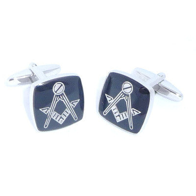 Black Rhodium Plated Masonic Cufflinks No G
