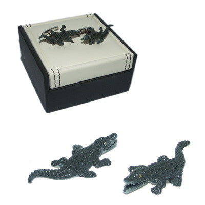 Crocodile Cufflinks in Black Colour