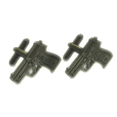 Gunmetal Finish Pistols Cufflinks in Gift Box
