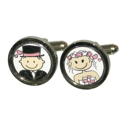 Pink Smile Bride & Groom Cufflinks