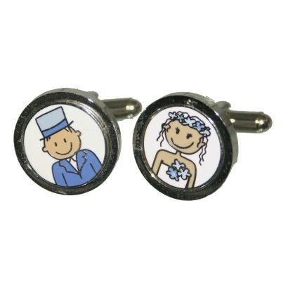 Blue Smile Bride & Groom Cufflinks