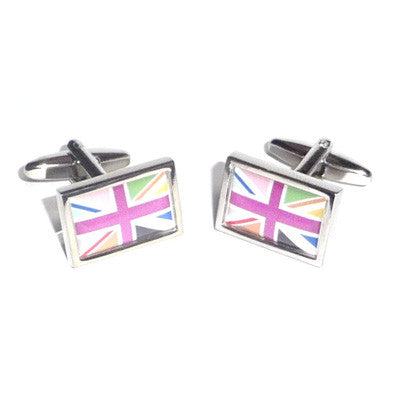 Cool Britannia Union Jack Flag Bordered Cufflinks