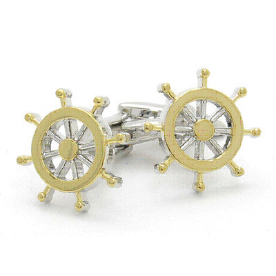 Two Tone Ships wheels Cufflinks