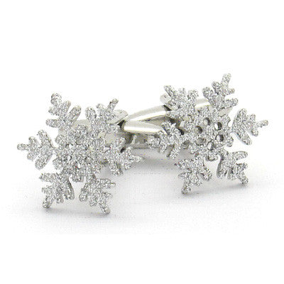 Silver Coloured Snowflake Christmas Cufflinks