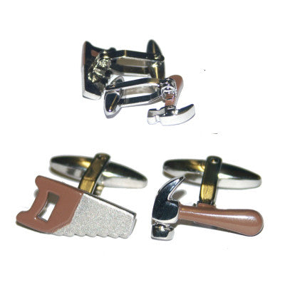 Brown Handled Hammer & Saw Cufflinks
