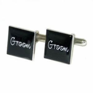 Black Square Groom Wedding Cufflinks