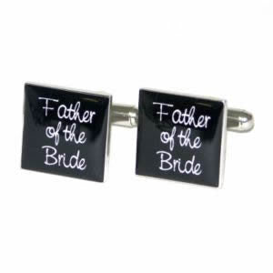 Black Square Father of the Bride Wedding Cufflinks
