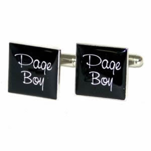 Black Square Page Boy Wedding Cufflinks