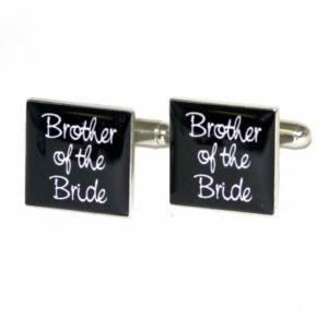 Black Square Brother of the Bride Wedding Cufflinks