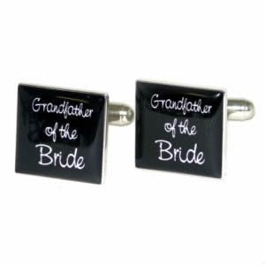 Black Square Grandfather of the Bride Wedding Cufflinks