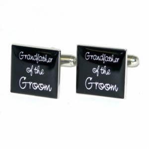 Black Square Grandfather of the Groom Wedding Cufflinks