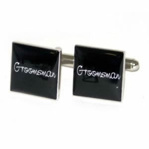 Black Square Groomsman Wedding Cufflinks