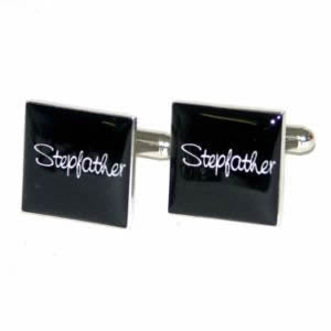 Black Square Stepfather Wedding Cufflinks