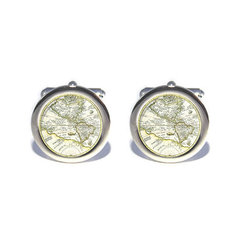 ancient world old map cufflinks