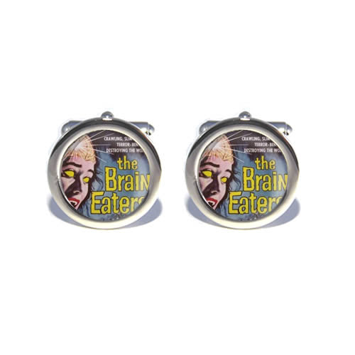 braineaters retro horror film halloween cufflinks