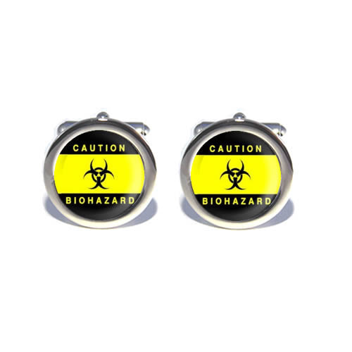 caution yellow biohazard cufflinks
