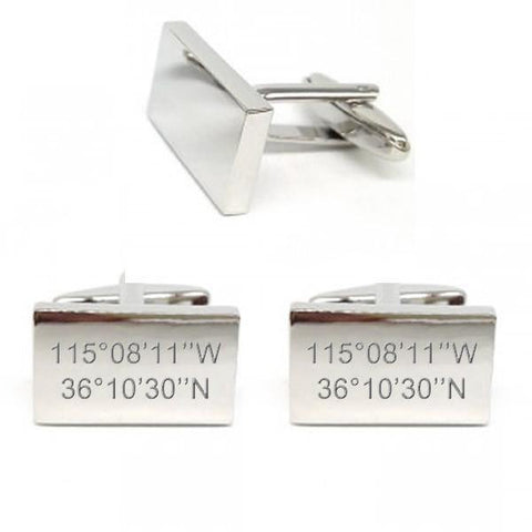 Personalised Coordinates Silver Rectangle Cufflinks