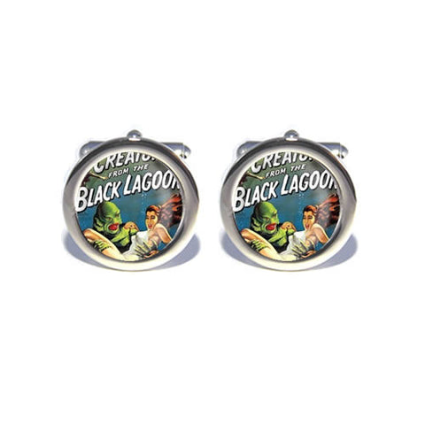 creature from the black lagoon retro horror cufflinks